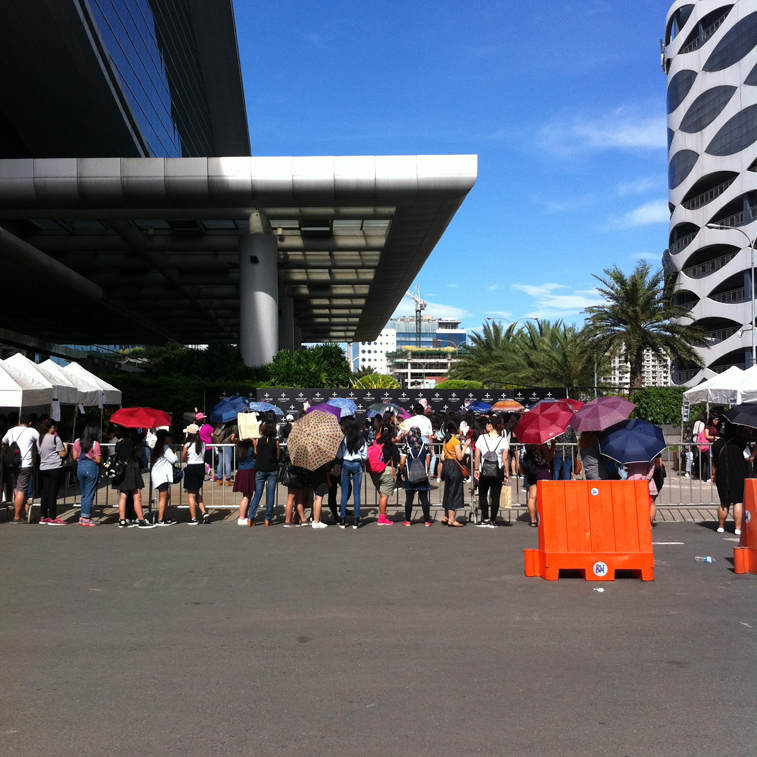 Army PH Fall in Line to take Pictures to BTS Standee